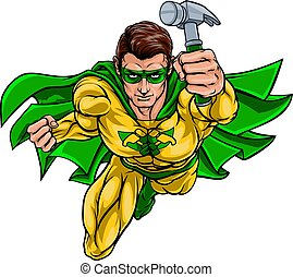 carpintero, súper, factótum, superhero, tenencia, martillo