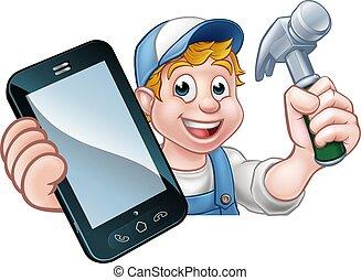 carpintero, teléfono, factótum, concepto