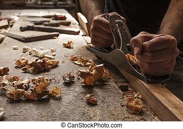 carpintero, trabajando, avión