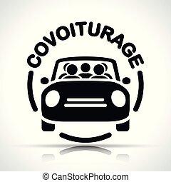 carpooling, francés, icono, traducción
