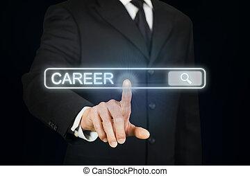 carrera, buscando, hombre de negocios