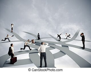carrera, confusión, empresa / negocio