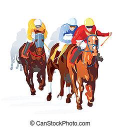 carrera de caballos, fin