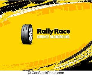 Carrera de carreras grunge de neumáticos de fondo de coche sucio. Ilustración de vectores de vehículos de transporte offroad