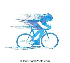 Carrera de ciclismo estilizada de fondo
