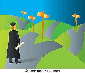 carrera, diplomado de la universidad, senderos
