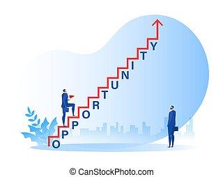 carrera, hombre de negocios, escalera, crecimiento, ambulante, ilustrador, oportunidad, palabra, concepto, éxito, vector