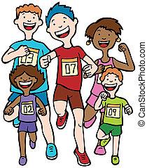 carrera, maratón, niño