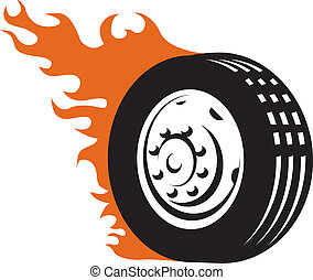 carreras, ardiente, neumático
