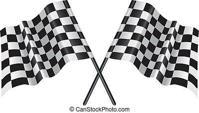 carreras, bandera chequered, a cuadros, motor