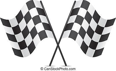 carreras, banderas, vector