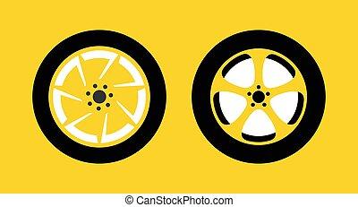 carreras, concurso, plano de fondo, rueda, taxi, conjunto, o, vector, reparación automóviles, icono, illustration., amarillo, shop., aislado