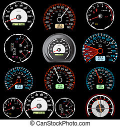 carreras de automóvil, velocímetros, conjunto, design.