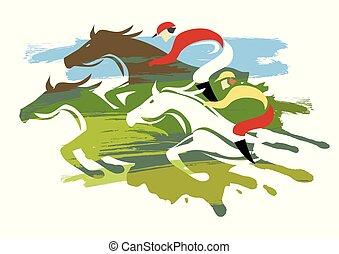 Carreras de caballos, tres caballos a toda velocidad.