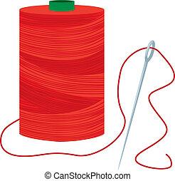 carrete, aguja, hilo rojo