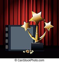 carrete de película, colorido, diseño, estrellas, trofeo