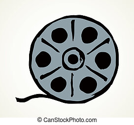 carrete, vector, película, dibujo, símbolo.