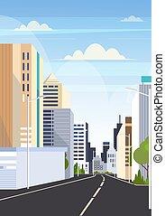 Carretera asfaltada de la ciudad de Skyline edificios modernos rascacielos de las ciudades escape fondo plano vertical