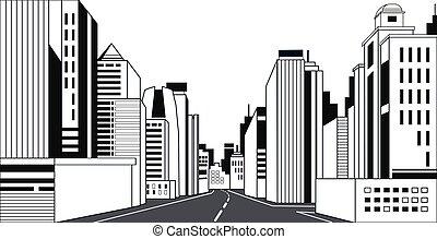 Carretera asfaltada de la ciudad Skyline edificios modernos rascacielos de rascacielos de las ciudades línea de fondo horizontal