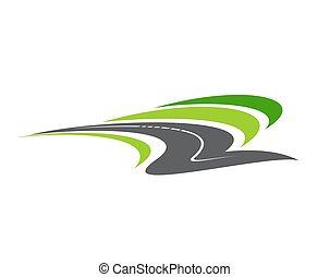 carretera, icono, camino, aislado, camino, caricatura, vector