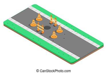 carretera, ilustración, vector, agujero, isométrico