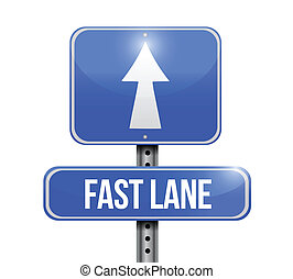 carril, rápido, señal, diseño, ilustración, camino