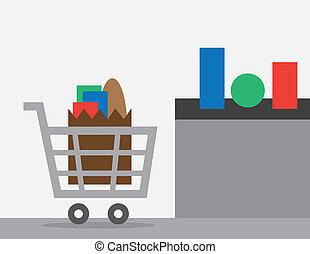 carrito, compruebe, compras