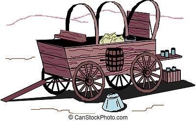 carrito, fondo blanco, antiguo