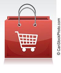 carro de compras, ilustración, diseño