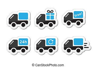 Carro de entrega, iconos del vector