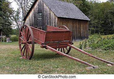 Carro de granja rojo