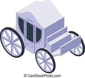 carruaje, blanco, real, estilo, isométrico, icono
