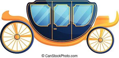 carruaje, real, caricatura, estilo, icono