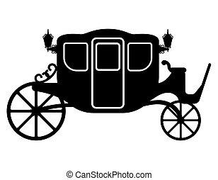Carruaje real para el transporte de gente de color negro silueta ilustración vectorial