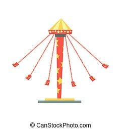 Carrusel balanceante con asientos en cadenas. Entretenimiento y recreación familiar. Parque de diversiones o elemento funfair. Diseño vectorial plano para tarjeta de invitación.