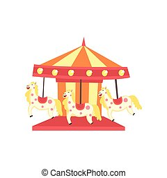 Carrusel de carnaval con caballos. Un parque de diversiones o un icono. Elemento de entretenimiento para recreación familiar. Diseño vectorial plano para el poster, pancarta o volante