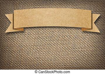 cartón, etiqueta, espacio, plano de fondo, arpillera