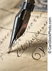 Carta antigua y hazaña de tinta