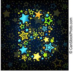 Carta B de dibujos de estrellas de color