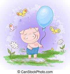 Carta bonita, cerdo con globos de flores y mariposas. Estilo de dibujos animados. Vector