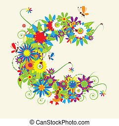 Carta C, diseño floral.