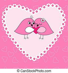 Carta con pájaros enamorados