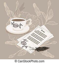 Carta con una taza de café negro.