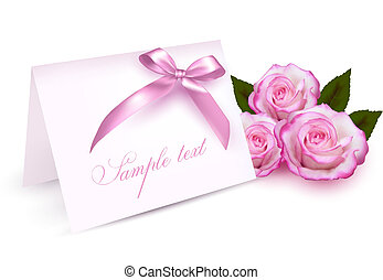 Carta de bienvenida con rosas de belleza