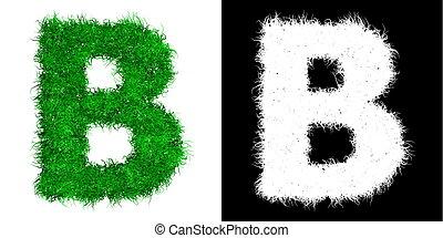 Carta de capital verde B hecha de hierba con máscara alfa