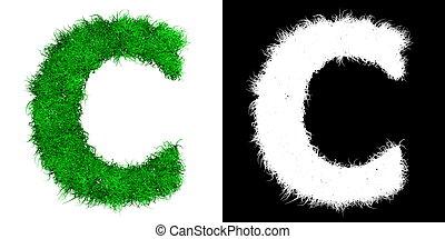 Carta de capital verde C hecha de hierba con máscara alfa