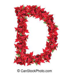 Carta de las flores rojas de Navidad aisladas en blanco