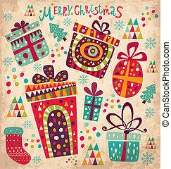 Carta de Navidad con cajas de regalos