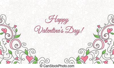 Carta de San Valentín con adornos de corazones