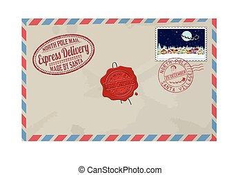 Carta de Santa Claus con sellos y marcas de correo